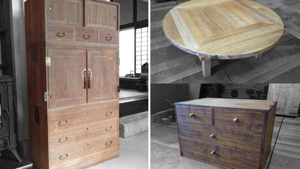 桐たんすからちゃぶ台と小箱を作製