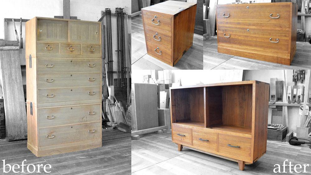 三つ重ねの桐たんすをブックシェルフ等3種類の家具に改造