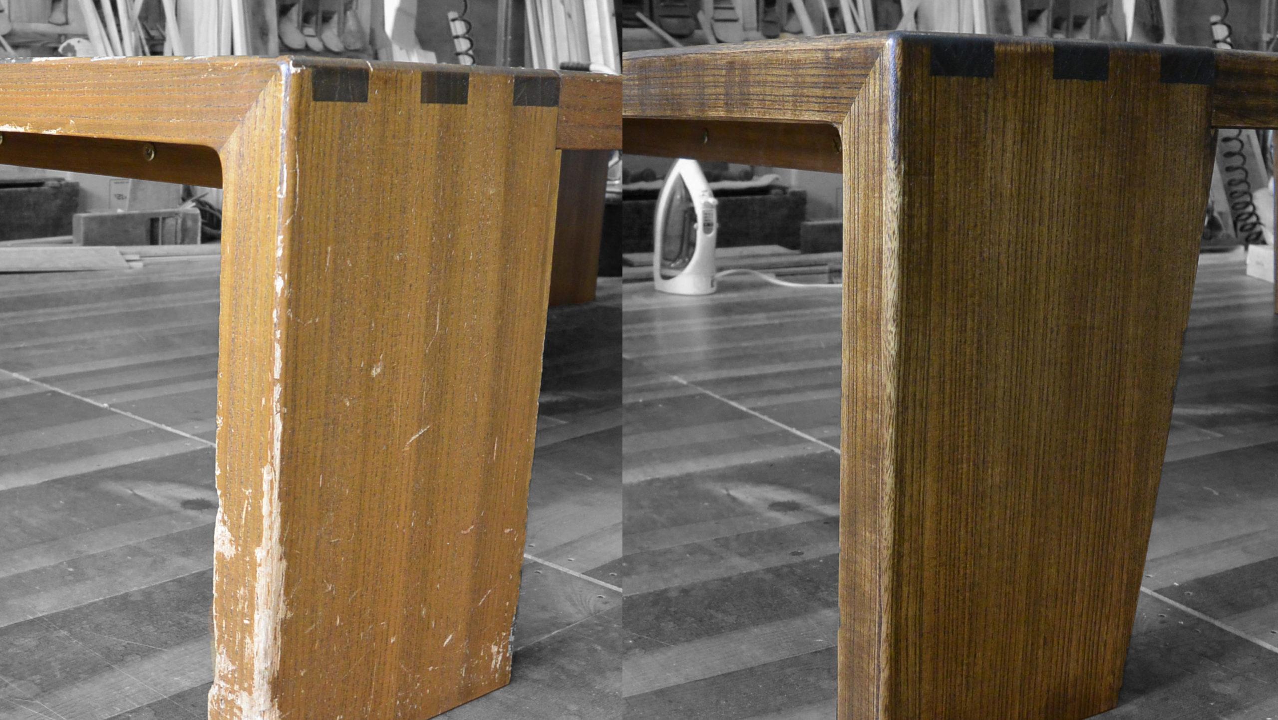 総桐の座卓が犬にかじられたり塗装がハゲたりしたので修理再生しました