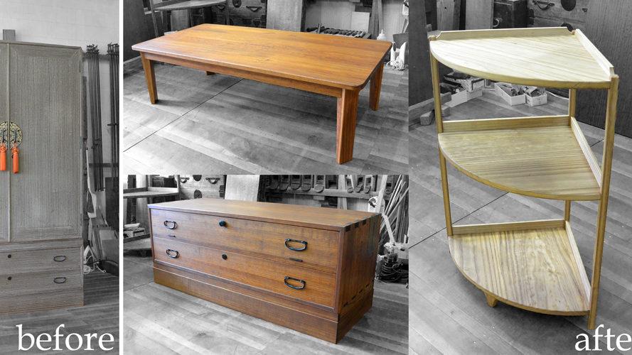 洋服箪笥からテーブルとコーナーラックとTV台を作製