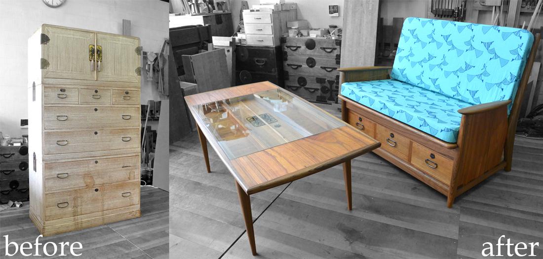 三つ重ね総桐たんすを北欧ビンテージ調のソファとテーブルに再生