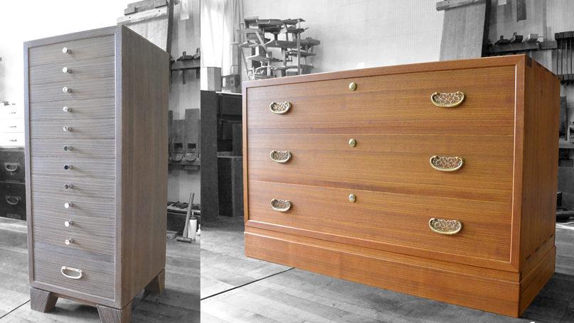 三つ重ねの総桐たんすを焼き杢仕上げの書類棚と小袖箪笥にアレンジ