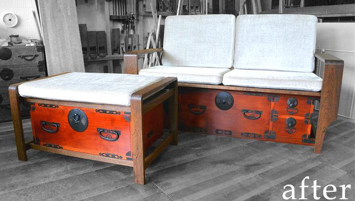 時代箪笥をソファとオットマンに改造